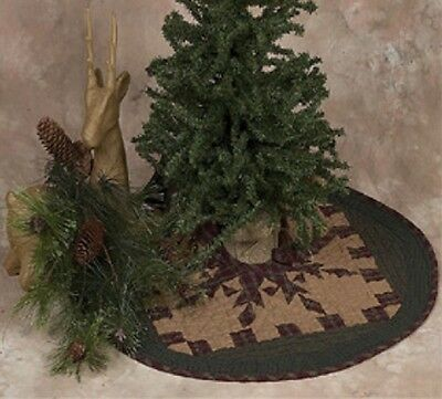 """Feathered Star Quilted Christmas Tree Skirt Small 23"""" D Tea Dyed"""