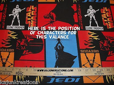 """15""""x60"""" lined VALANCE with STAR WARS clone STORM TROOPER Darth Vader JEDI fabric"""
