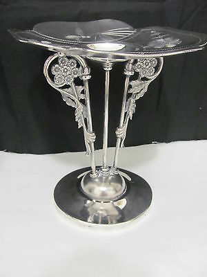 Antique Meriden Silver plated Aesthetic Card Receiver Dragonflies Flowers