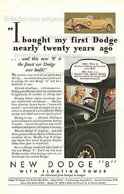 Dodge 8 Convertible Sedan WITH FLOATING POWER - Original Anzeige von 1933