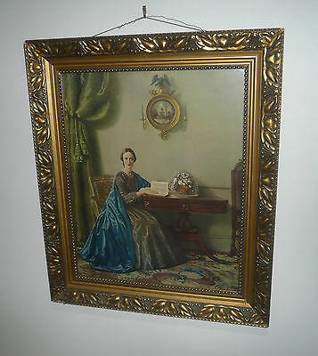 Antique Original Large Lady In Waiting Print In Art Nouveau Gold Frame