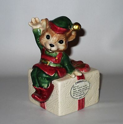 Fitz Floyd Mouse Elf Candle Holder Christmas Gift Red Green Hand Painted Omnibus