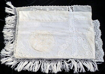 RARE ANTIQUE FRENCH MIXED LACE & EMBROIDERY Boudoir Pillow Case FROM PARIS