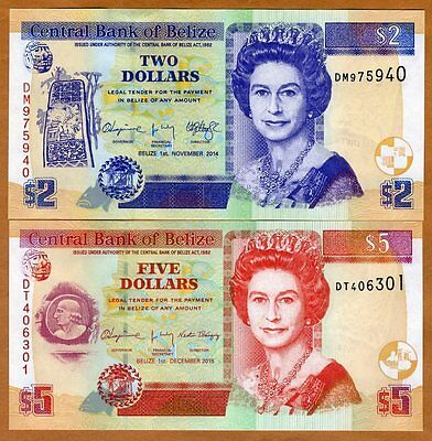 SET Belize, 2;5 Dollars, 2014-2015, QEII, P-66e-67f, UNC