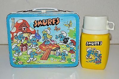 Good Vintage 1983 SMURFS Metal Lunchbox & Thermos Set C6.5 Rare Scarce