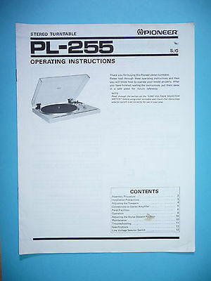 Operating Instructions for Pioneer PL-255 ,ORIGINAL