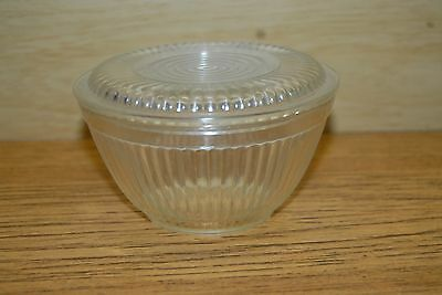 Vintage Round Clear Glass refrigerator Dish with Lid Ribbed Sides