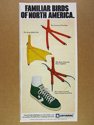 1982 Larry Bird CONVERSE All-Star Hi-Tops green shoes Familiar Birds vintage Ad