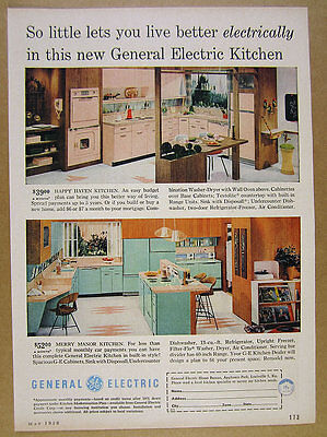 1958 GE General Electric Complete Kitchens mid-century design photos vintage Ad