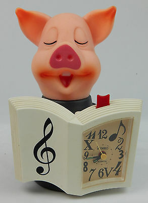 Vintage Sunko Oinking Singing Pig Alarm Clock Works Great oinks 5 Songs