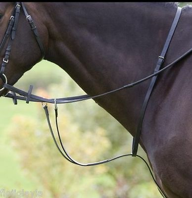 GALLOP horse / pony LEATHER RUNNING MARTINGALE  black OR brown PONY, COB or FULL