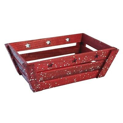 Red Rectangle Wooden Planter with Stars Christmas Gift Hamper Box