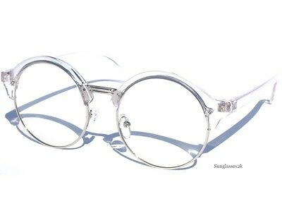 Half Frame Transparent and Silver Round Soho Style Clear Lens Glasses New