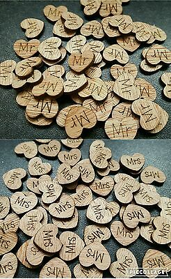 50 Rustic Wood Love Hearts MR and MRS Wedding Table Scatter Decorations Vintage