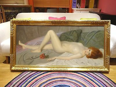 Huge Fine Circa 1900 French Nude Reclining Lady Portrait Antique Oil Painting