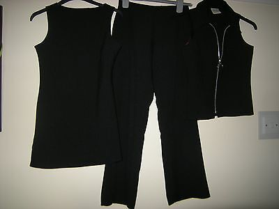 Ex Cond Girls Black Three Piece Trousers Set/suit Outfit 11 12 Years