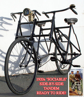 1920s Sociable SIDE-BY-SIDE TANDEM Ready to Ride Vintage Antique Bicycle Bike