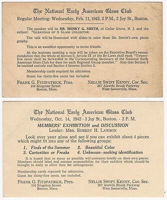 Two 1942 National Early American Glass Club Exhibition + Meeting Postcards