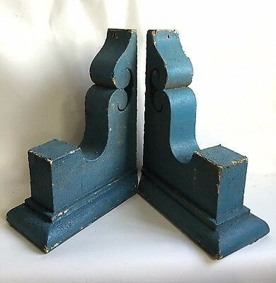 Antique Pair(2) 1890's Wood Corbels Brackets Gingerbread Victorian Blue A4