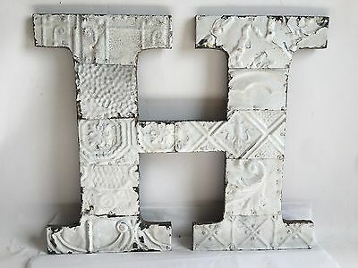 """Large Antique Tin Ceiling Wrapped 16"""" Letter 'H' Patchwork Metal Chic White B16"""