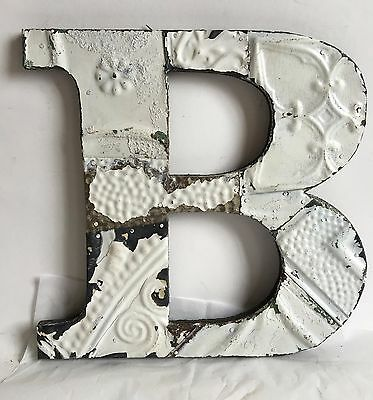 """Antique Tin Ceiling Wrapped 12"""" Letter 'B' Patchwork Metal Mosaic White A7"""