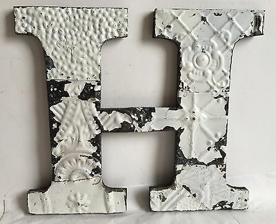 "Antique Tin Ceiling Wrapped 12"" Letter 'H' Patchwork Metal Chic White A14"