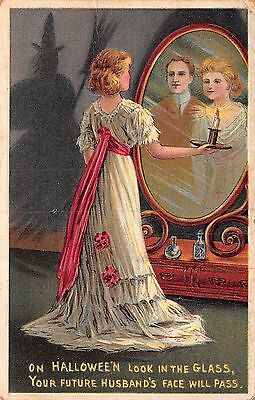 Halloween Postcard Woman Looking in Mirror and Future Husband Appears~108636
