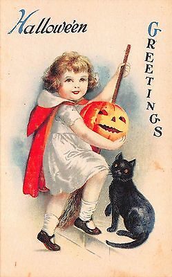 Halloween Postcard Little Girl in Red Cape with Jack-o-Lantern Black Cat~108639