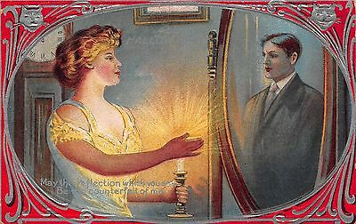 Halloween Postcard Woman Looking Into a Mirror Sees a Ghost Man~108627