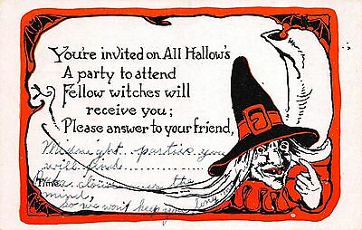 Halloween Postcard Invitation to a Party Witch and Bats, All Hallow's~108650