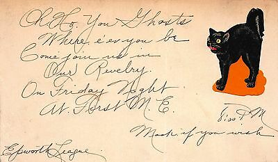 Hand Made Halloween Postcard Invitation to a Party, Black Cat Sticker~108648