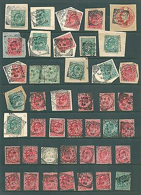 Edward VII SQUARED CIRCLE postmarks - Unchecked GB including pieces