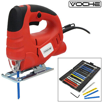 Voche® 400W Electric Pendulum Cutting Jigsaw Variable Speed Jig Saw + 16 Blades