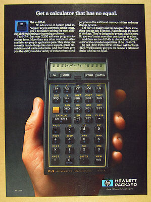 1985 Hewlett-Packard HP-41 HP41 Calculator color photo vintage print Ad