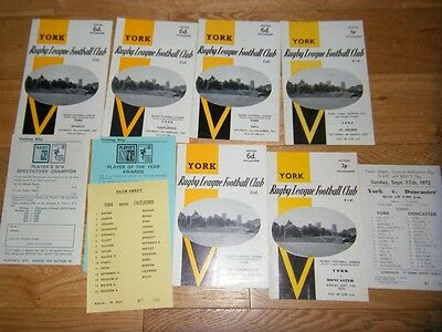 Six York Rugby League Programmes - 1969 & 1972 - Teamsheets
