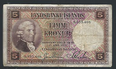 ICELAND 5 KRONUR 1928 PIC# 27a No prefix (FIRST ISSUE)