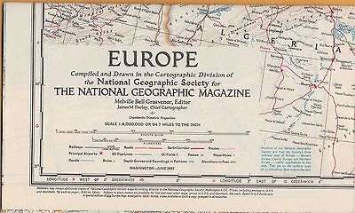 NATIONAL GEOGRAPHIC MAP ~ EUROPE ~ June 1957 ~ VERY NICE CONDITION