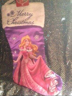 Disney MERRY Xmas Stocking PRINCESS  SATINY NEW *Going Out of Business*
