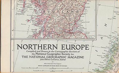 NATIONAL GEOGRAPHIC MAP ~ NORTHERN EUROPE ~ Aug. 1954 ~ VERY NICE CONDITION