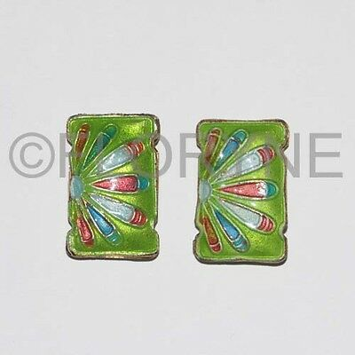 2 Perles Cloisonnées Rectangle 19 X 12 X 5Mm 2 Rangs Vertes
