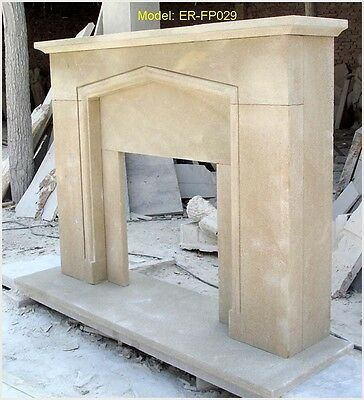 Customize Solid Sandstone Hand Carved Fireplace Mantel Surround @pls Ask Price@