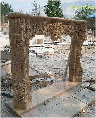Customize your own size 100% natural stone Hand Carved fireplace mantel surround
