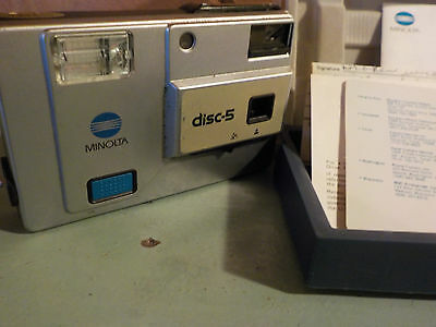 Vintage MINOLTA Disc-5 Camera in Hard Plastic Case w/ Manual and Warranty Papers