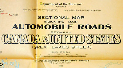 1927 Original Wall Map Great Lakes Canada Canadian USA Auto Routes Roads