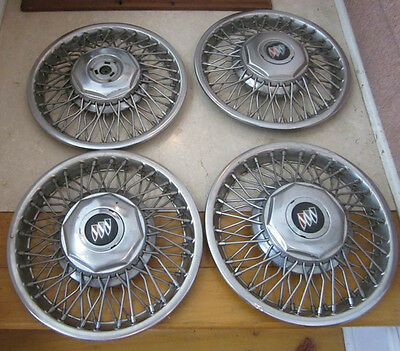 1970-80's Cadillac Deville Fleetwood Wire Spoke Hubcaps Wheel Covers 4 PC
