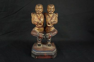 """Rare Antique Great Chinese Figurine Acrobat-Twins wood carving 8"""" [Y8-W6-A9-E9]"""