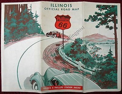 Original Vintage Illinois Phillips 66 Road Map 1938 Great Graphics!
