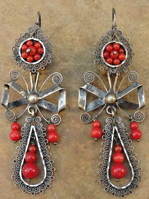 Mexican Mexico Sterling Silver Filigree Coral Frida Earrings