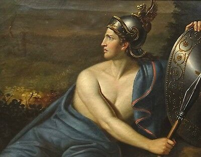 Large 18th Century French Master Achilles & Chiron Classical Roman Oil Painting