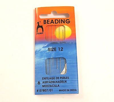 6x Pony Beading needles Size 12 0.30mm STRINGING THREADERS BEADS & PEARLS